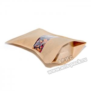 Фигурный пакет дой-пак с окошком