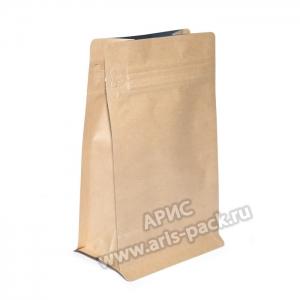 Пакет c плоским днoм Крафт (боковой зип)