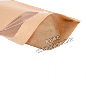 Пакет дой-пак с окошком крафт-бумага