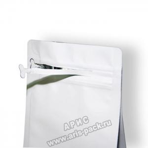 Пакет c плоским дном Белый (боковой зип)
